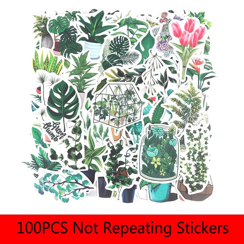 100PCS  Green Plants Stickers Bike Guitar Laptop Waterproof PVC Sticker Decals