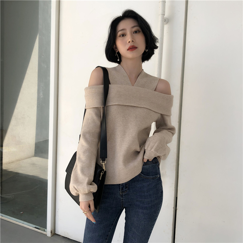 Pullovers Ladies Hanging Neck Strapless Collar Design Leaky Clavicle Light Mature Sweater Female Loose Wear Knitted Tops Sweater