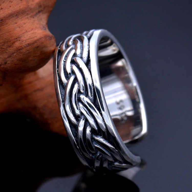 Anillo de cuerda de Plata de Ley 925 Vintage Thai plata tejido Cruz S925 anillo de tamaño libre