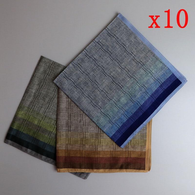 10 шт. 43*43 см классические ЖАККАРДОВЫЕ мужские клетчатые носовые платки для мужчин wo мужские 100% хлопок карманные квадратные носовые платки