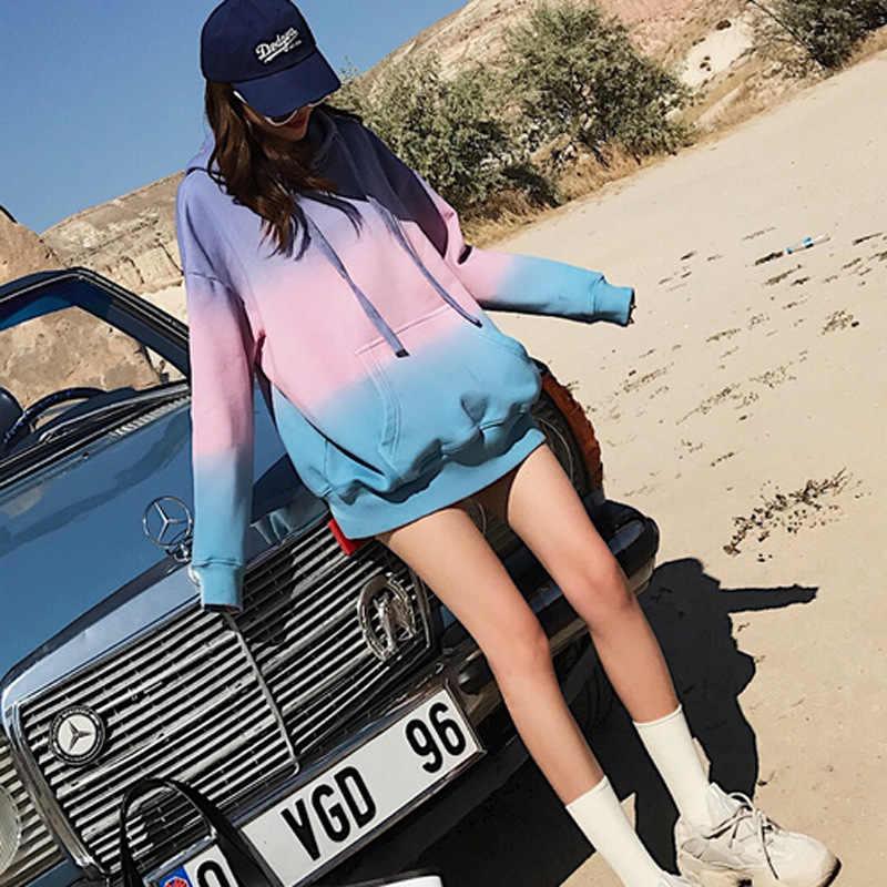 IEMUH Otoño Invierno Harajuku Gradient Hit Color mujeres sudaderas con capucha Streetwear manga larga suéter suelto mujer Sweatshir