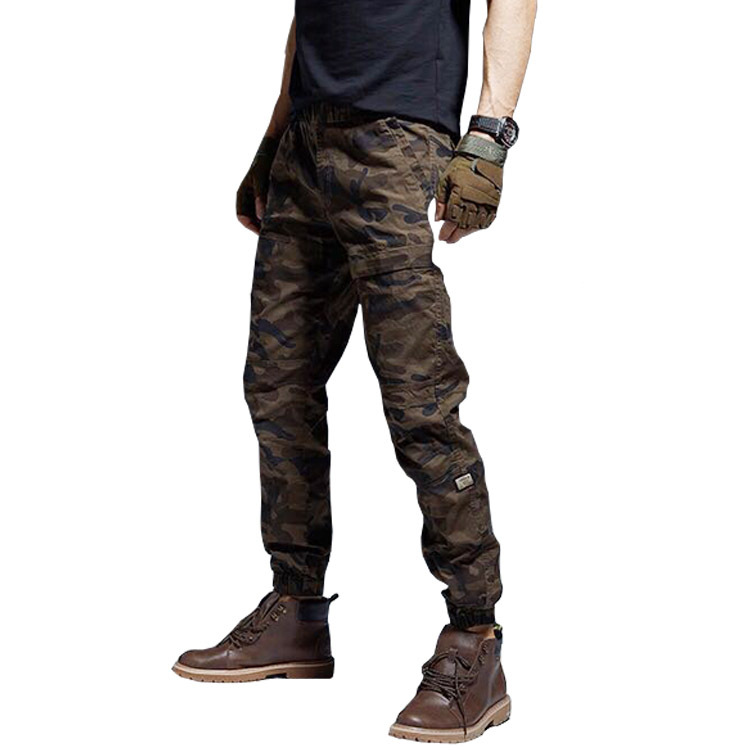 Men's 100% Cotton Cargo Pants Casual Pants Elastic Multi Pocket Camouflage Overall Outdoor Zipper Streetwear Military Trousers