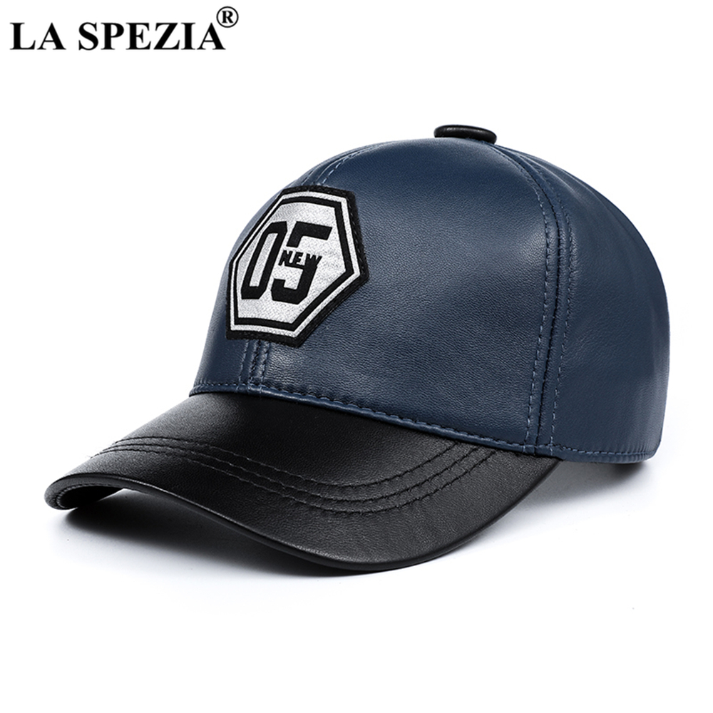 LA SPEZIA Genuine Leather Baseball Cap Men Women Blue Black Patchwork High Quality Male Female Winter Dad Cap