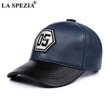 LA SPEZIA ของแท้หนังเบสบอลหมวกผู้ชายผู้หญิงสีฟ้าสีดำ Patchwork คุณภาพสูงชายหญิงฤดูหนาวหมวกพ่อ