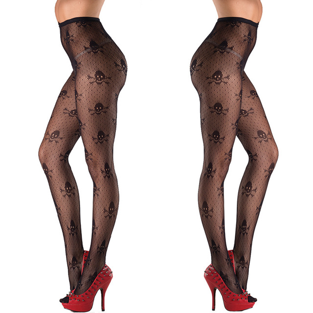 Sexy Halloween Skulls Printed Ultra Sheer Open Net​ Pantyhose 3