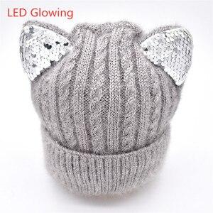 Image 3 - 新しい冬の帽子と冬の子供の帽子子供のための帽子とスヌードガールズボーイズ子供帽子発光猫耳