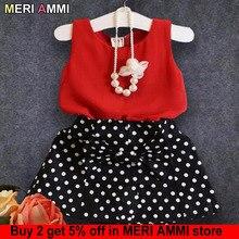 MERI AMMI/комплект одежды из 2 предметов, детский комплект одежды для девочек, жилет без рукавов с бантом+ юбки в горох для От 2 до 11 лет и девочек J514