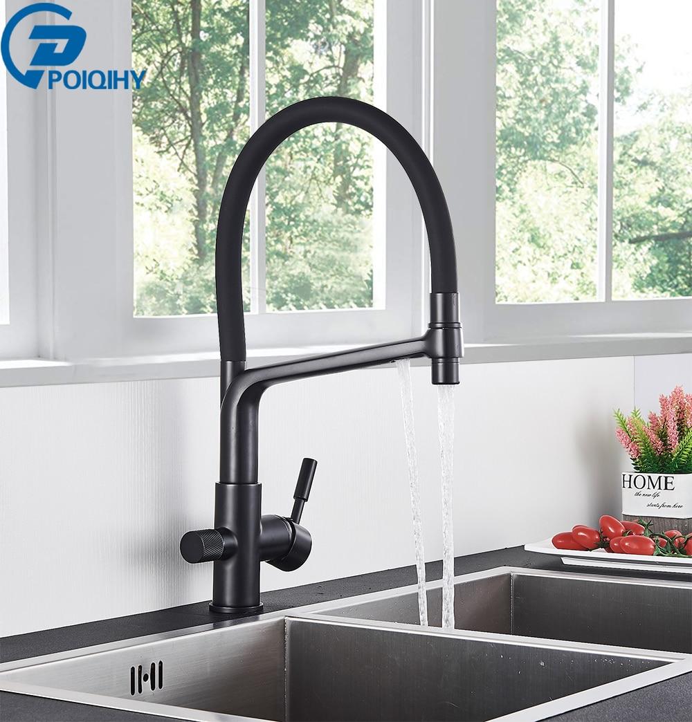POIQIHY фильтр для чистой воды, смеситель для кухни, Вытяжной Фильтр, смесители, черный латунный кран, двойная ручка, носик, смеситель для горяче...