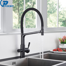 Poiqihy Zuiver Water Filter Keukenkraan Pull Down Gefilterd Kranen Messing Kraan Dual Handle Uitloop Hot Cold Mengkraan