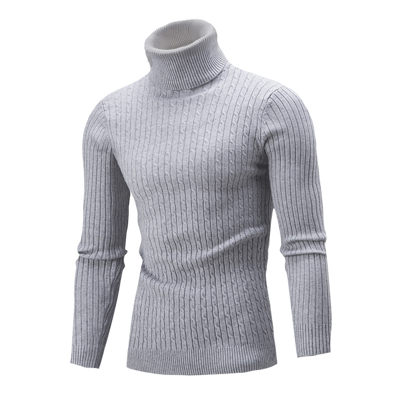 Winter High Neck Sweater Men Solid Color Turtleneck Sweaters Slim Fit Pullover Men's Casual Knitwear Jumper Sweater Tops