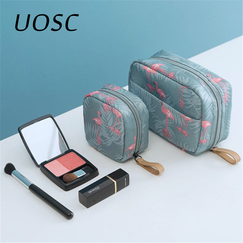 UOSC Mini Solid Color Flamingo Cosmetic Bag Cactus Travel Toiletry Lipstick Storage Bag Beauty Makeup Bag Cosmetic Bag Organizer