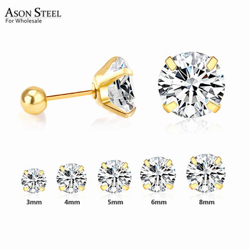 ASONSTEEL 316L Stainless Steel Gold/Silver Color Cubic Zirconia Stud Earrings for Women Girl Fashion Jewelry Party Earrings 1