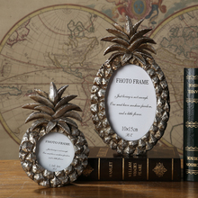 Oval Retro Picture Frame Golden Silver Pineapple Shape Home Decoration Table Resin Creative Photo