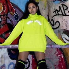 Cryptographic Neon Print Letter Holographic Sweatshirts Women Long Sleeve Pocket Hooded Long Sweatshirts Loose Casual Top Winter letter print hooded sweatshirts