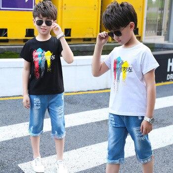 CiKiXZ Toddler Boy Gril Tops Letter Print T-Shirt Short Denim Pants Summer Outfits Set