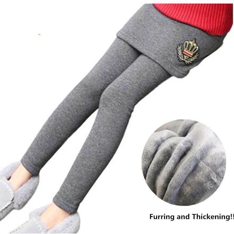 Baby Girls Winter Warm Pants Children Long Laggings With Skirt Velvet Thicken Girls Clothing Child Pattern Kids Solid Leggings