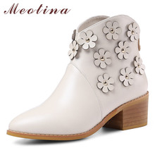 Meotina Autumn Western Boots Women Natural Genuine Leather Flower Thick High Heel Ankle Boots Zip Pointed Toe Shoes Female 34-39 стоимость
