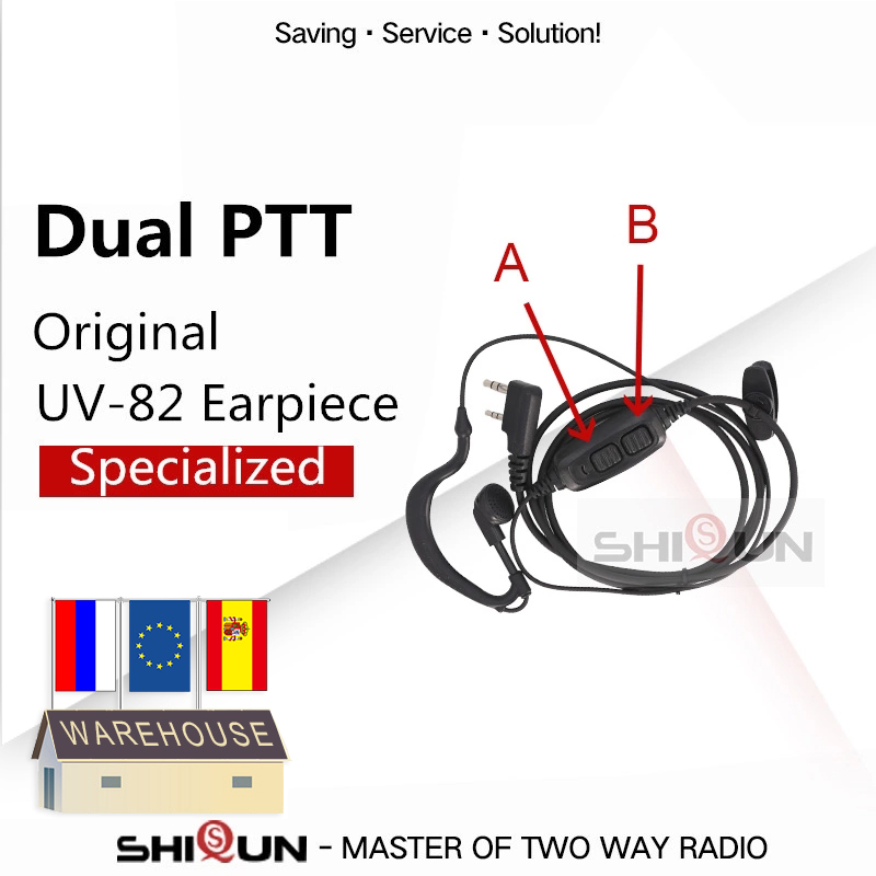 Dual PTT Earpiece For Baofeng UV-82 UV-8 UV82L UV-89 UV 82 UV-82 Plus UV-82TP GT-5TP UV-82HP UV-82HX Acoustic Headset UV-8D
