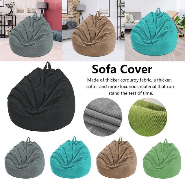 Lazy BeanBag Sofas Cover Chairs without Filler Soft Removable Corduroy Lounger Seat Bean Bag Pouf Puff Couch Tatami Living Room 2