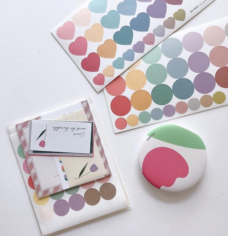30Pcs/Lot Cute Korea Style Ins Gradual Heart Dot Sticker DIY Scrapbooking Album Diary Planner Decoration Stickers