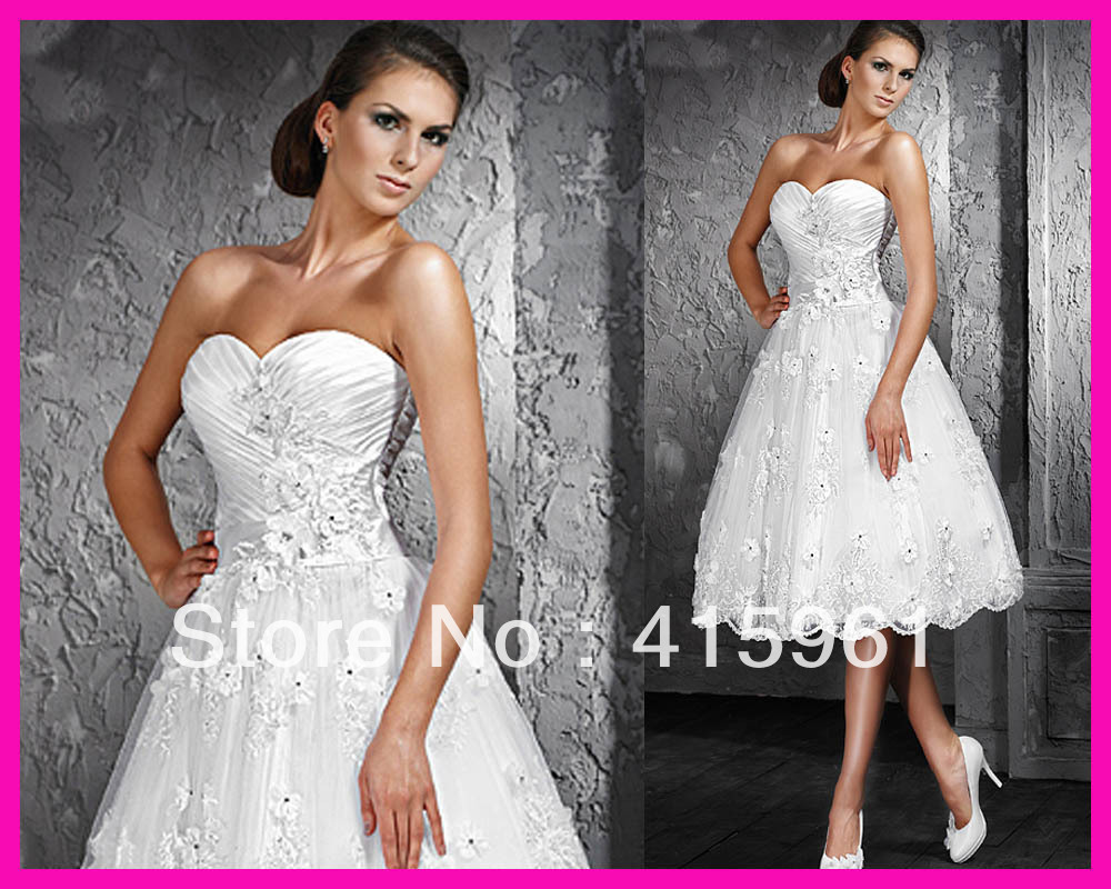 Vestido De Noiva Robe De Mariee A Line Short Sweetheart Beaded Flowers Lace Bridal Dresses 2019 Wedding Dress Knee Length