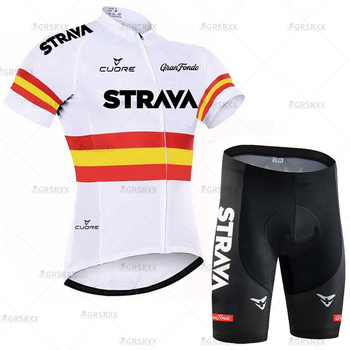 STRAVA Cycling Jersey Men Set Bib Shorts Set Summer Mountain Bike Bicycle Suit Anti-UV Bicycle Team Racing Uniform Clothes 17