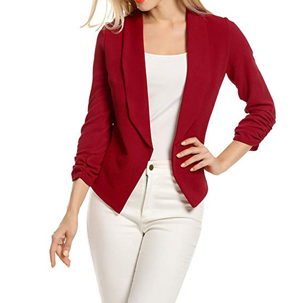 Women Blazers and Jackets 3/4 Sleeve Blazer Open Front Short Cardigan Suit Jacket Work Office Coat Summer Fall Outwear