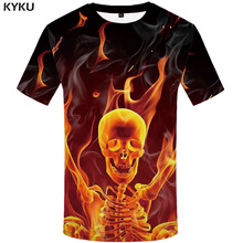 3d Tshirt Skull T-shirt Men Skeleton Shirt Print Flame Funny T shirts Punk Anime Clothes Black T-shirts Short Sleeve Hip hop