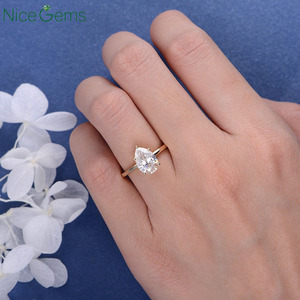 Image 5 - NiceGems 18K Yellow Gold 2 Carat Pear Cut Moissanite Engagement ring 5 prong set D Color For Women Wedding anniversary gift