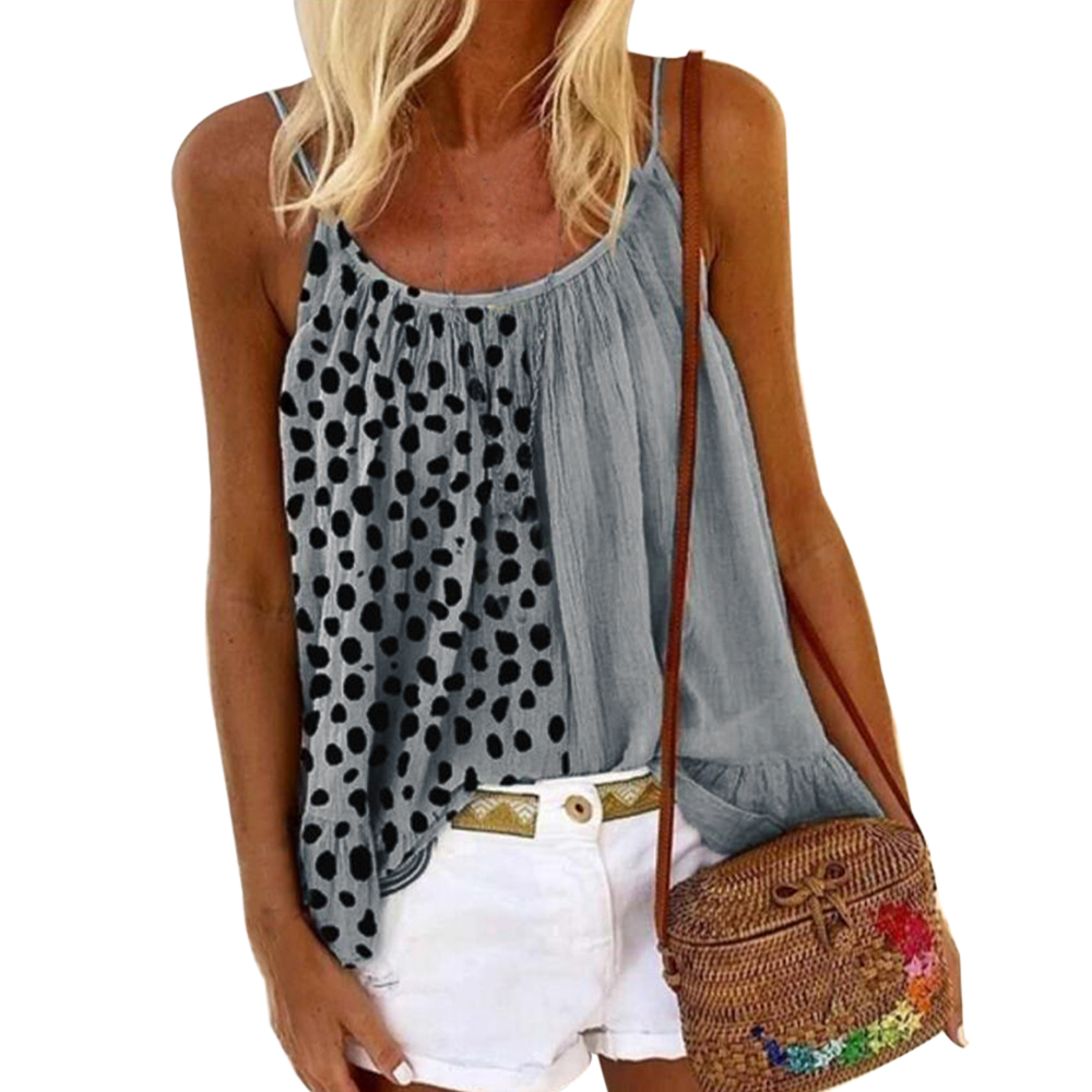Top Fashion Cute shhirt Plus Size Women Tops Leisure Print Vest Female Strap Sexy Tees Clothing 2020 Summer Loose Casual Shirt