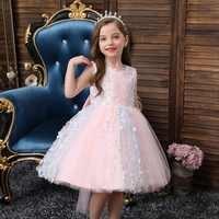 Vestido de boda para fiesta de cumpleaños, tutú bordado, princesa niña, vestido de bautismo para niña, vestido de verano 2019