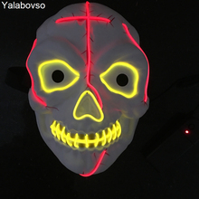Horror Skull Halloween  EL Wire Mask Flashing Cosplay LED Neon Costume Anonymous Mask For Glowing Dance Carnival Party Masks Z2 hot halloween mask led maske light party masks neon maska cosplay mascara horror mascarillas glow in dark masque for vendetta