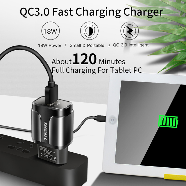 USLION Quick Charge QC 3.0 USB US EU Charger Universal Mobile Phone Charger Wall Fast Charging Adapter For iPhone Samsung Xiaomi 5