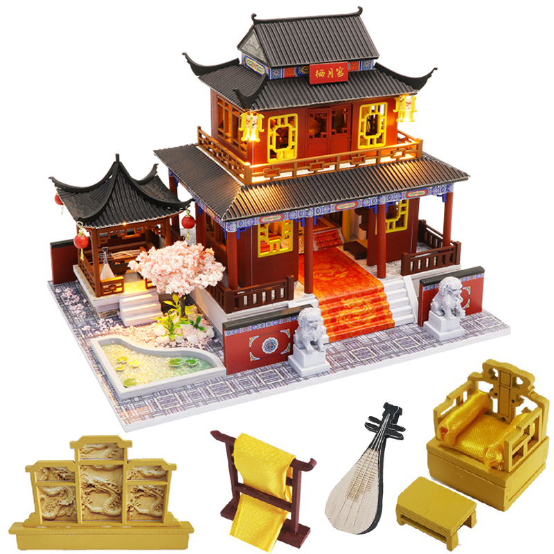 CUTEBEE Kids Toys Doll House Furniture Assemble Wooden Miniature Dollhouse Diy Dollhouse Christmas Gift Toys For Children M909