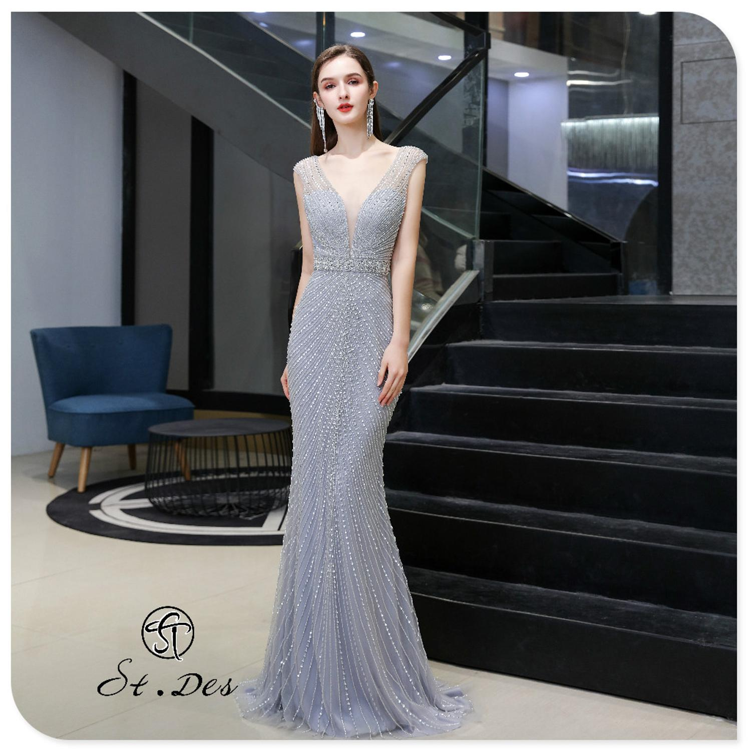 S.T.DES Evening Dress 2020 New Arrival V-neck Mermaid Sleeveless Floor Length Party Dress Dinner Gowns