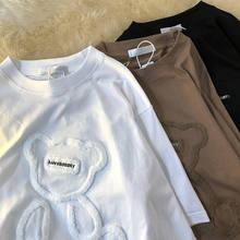 Camisetas femininas harajuku meninas plus size topos carta jacquard o-pescoço manga curta solta verão tshirt urso branco camisetas roupas