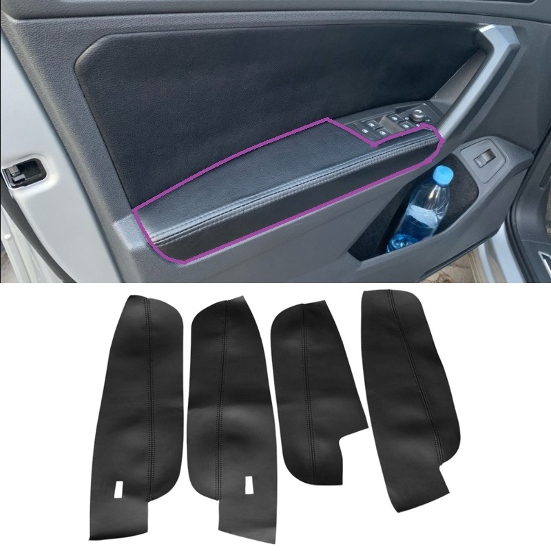 For VW Tiguan 2017 2018 2019 4pcs Microfiber Leather Interior Door Handle Armrest Panel Cover Protective Trim image