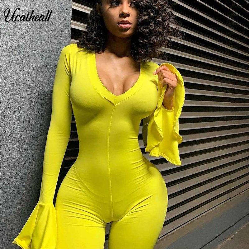 Autumn Women Elegant Jumpsuit Long Ruffle Sleeve V-Neck Bodycon Jumpsuit Sexy Club Party Romper Playsuit Tracksuit Outfit