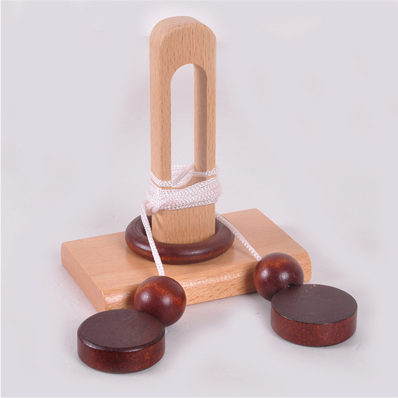Children's Wooden 3D Puzzle Toy Intelligent Loop Puzzle Kong Ming Lock Topology Toy Stringing Untie The Rope Gifts