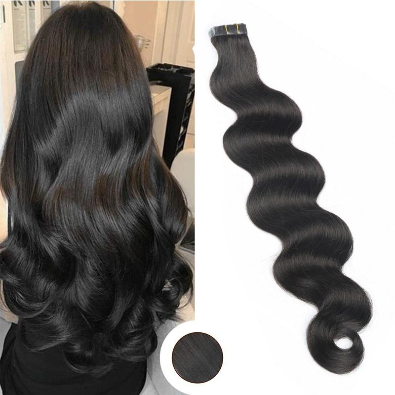 Toysww Extensions de cheveux humains | Bande adhésive Body Wave, trame en peau vierge, bande adhésive Double face, en 20 pièces 40 pièces