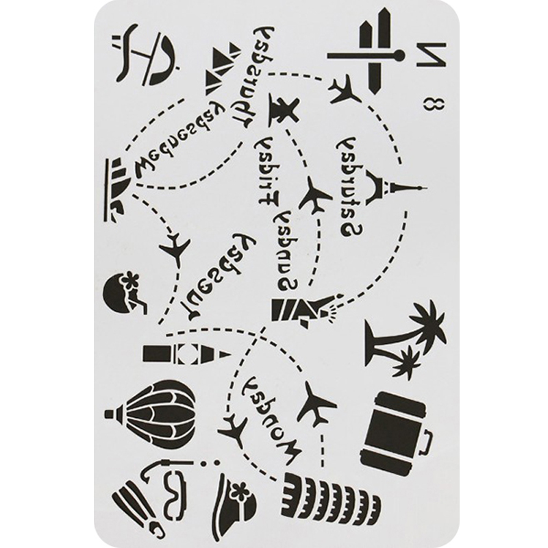 1pc Travel Stencil Painting Template Embossing DIY Craft Bullet Journal Accessories Sjablonen For Scrapbooking Reusable Decor