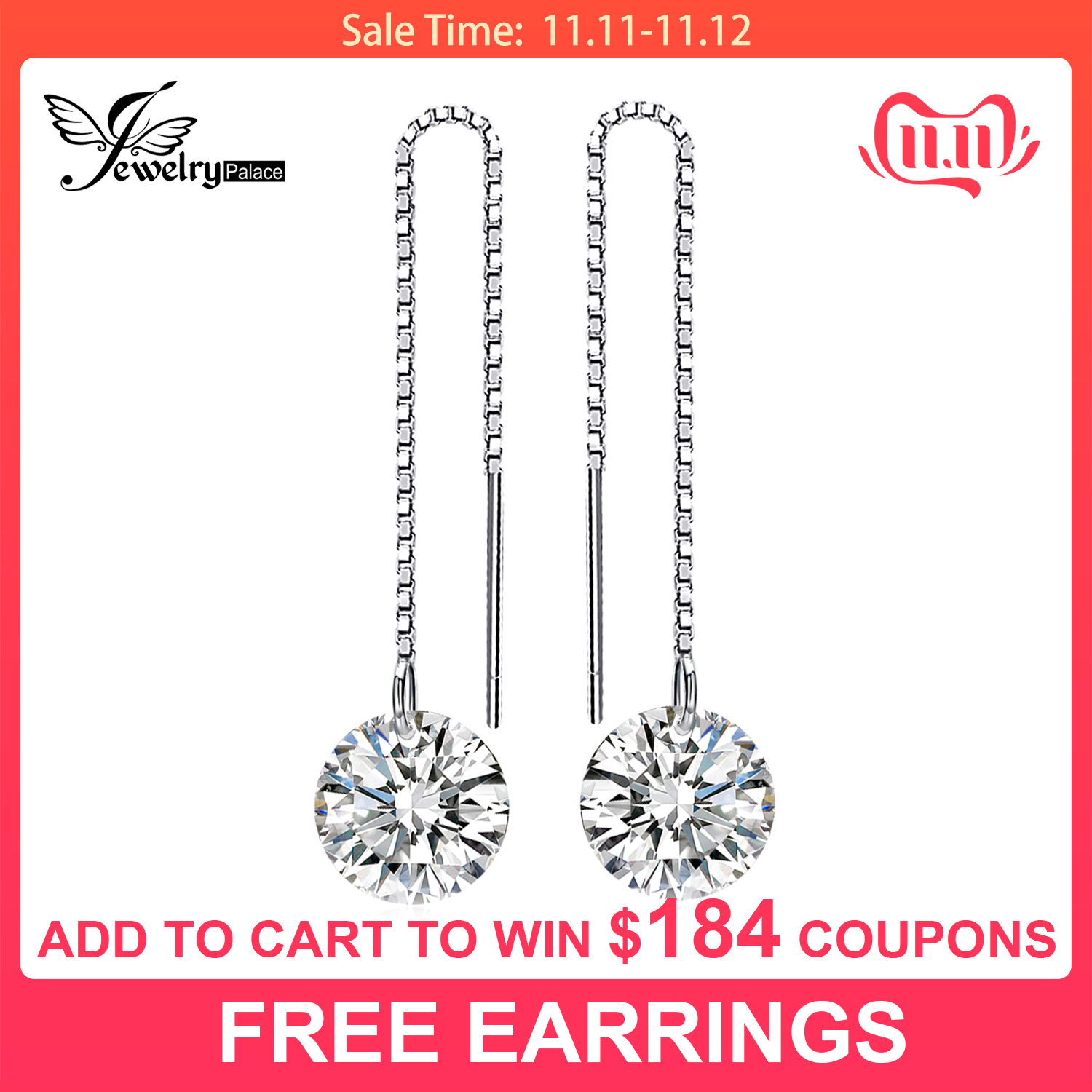 JewelryPalace Round Fashion 8mm 5.0ct Linked Earrings Genuine 925 Sterling Silver New For Women Fine Jewelry Birthday Present