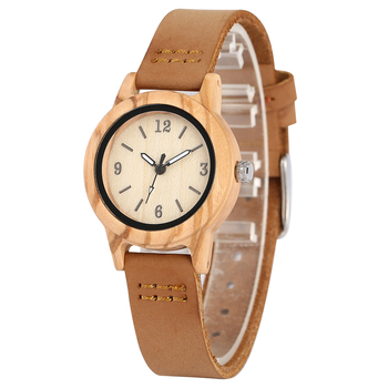 Classic Brown Case Wooden Watch for Women Typical Genuine Leather Brown Strap Handmade Wood Wristwatch Gift orologio donna fashion deer head dial design hand made light wood watch with brown genuine leather strap bamboo wristwatches for men women