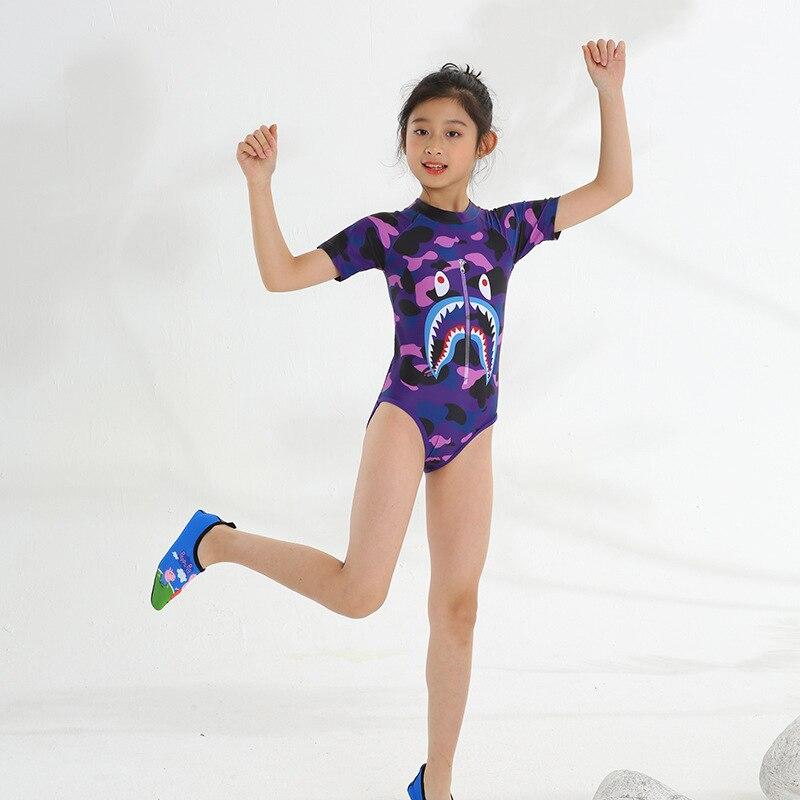 2019ins New Style KID'S Swimwear Girls Big Boy One-piece Short Sleeve Less Girls Siamese Swimsuit Students Bathing Suit