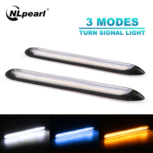 NLpearl 2pcs Universal DRL LED Daytime Running Light Waterproof Car Light Assembly Sequential Led DRL Turn Signal Light Yellow