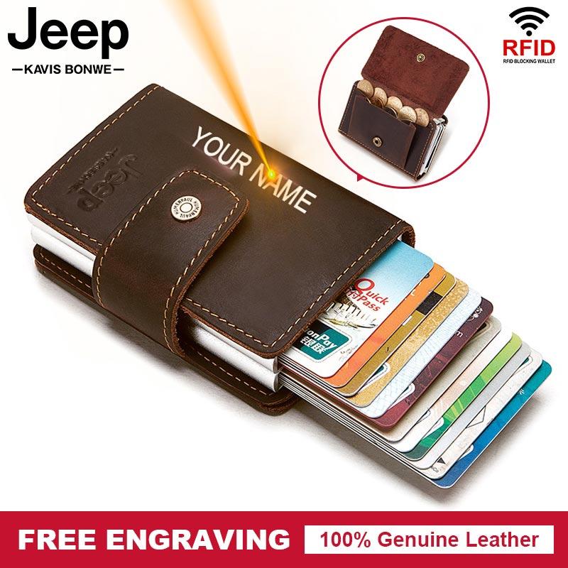Умный кошелек из бычьей кожи с RFID-защитой, тонкий мужской держатель для ID-карт, автоматический однотонный металлический держатель для визит...