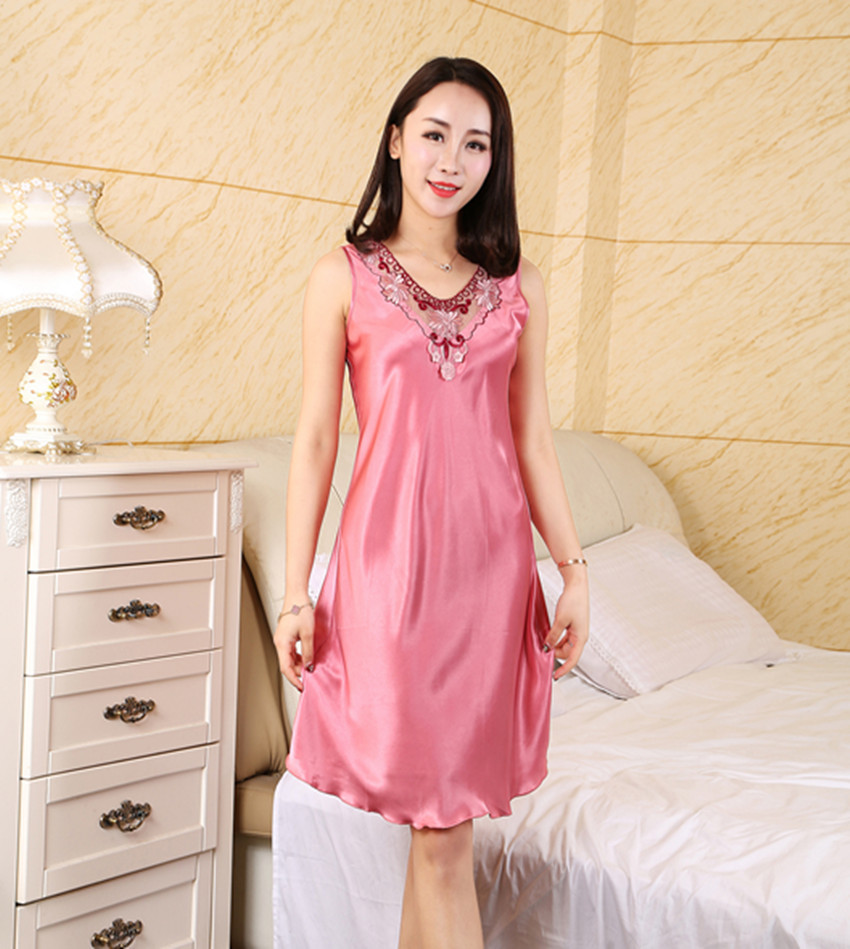 Women's Sleepwear Female Summer Imitated Silk Fabric Lingerie Sexy Nightgown Strap Sundress Summer Thin Sleeveless Women's Sleep