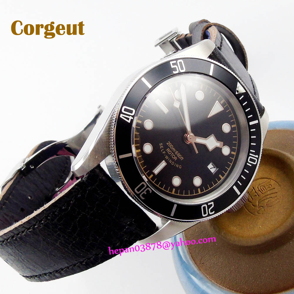 41mm Corgeut 20ATM Miyota 82 Automatic Men's watch sapphire glass  black sterile dial rose gold rim hands blue insert Bezel