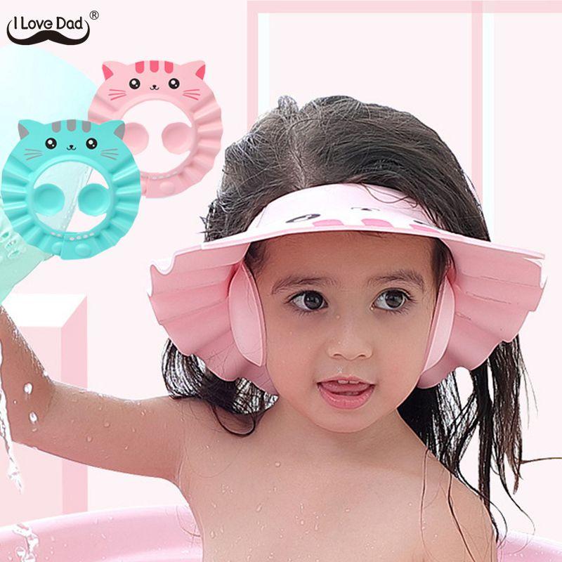 Nette Cartoon Baby Dusche Kappe Neugeborenen Einstellbare Haar Waschen Hut Kind Ohr Schutz Sicher Kinder Shampoo Schild Bad Kopf Abdeckung