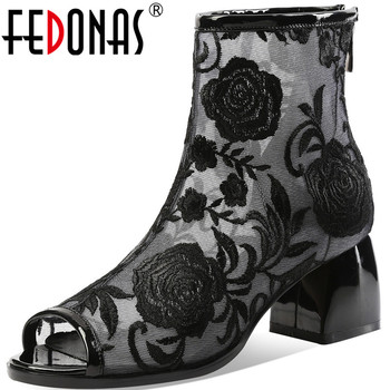 FEDONAS Embroider Sexy Fashion Women Summer Boots Open-Toed Thick Heeels Pumps 2020 Spring Party Office Lady Shoes Woman Heels